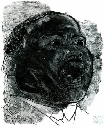 "Ben Shahn in collaboration with Stefan Martin, 'Martin Luther King' 1966, wood engraving print on paper, 25"" X 20.125"","